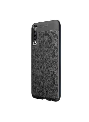 Microsonic Samsung Galaxy A70 Kılıf Deri Dokulu Silikon Siyah Siyah